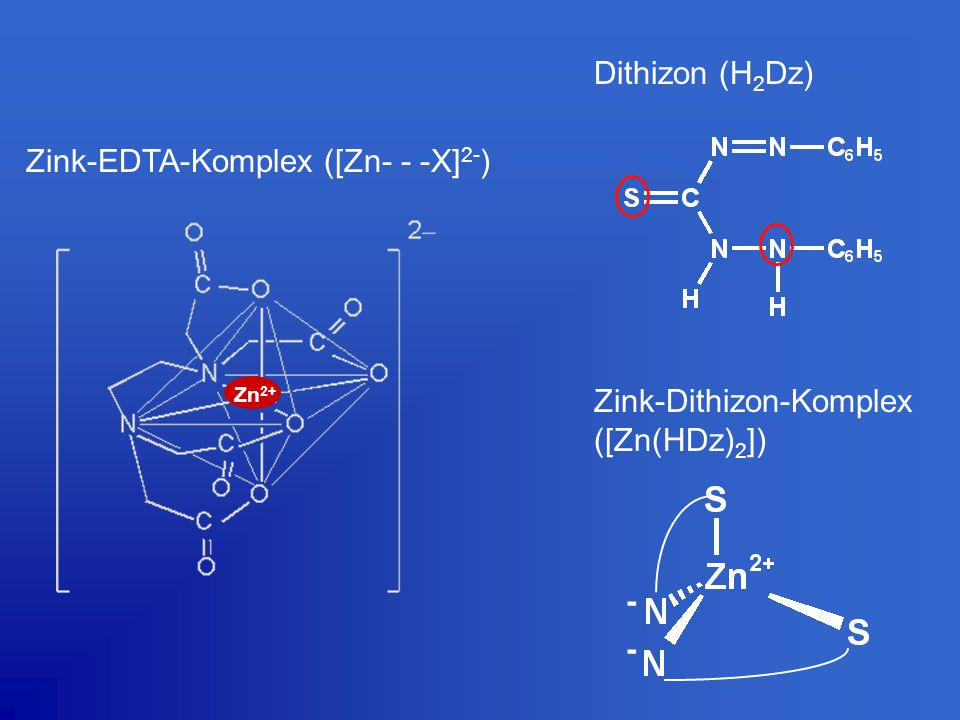 Zink-EDTA-Komplex ([Zn- - -X]2-)